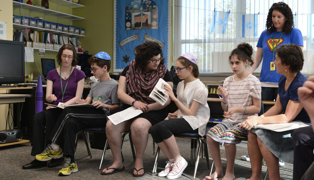 A B'nei Mitzvah class sits together