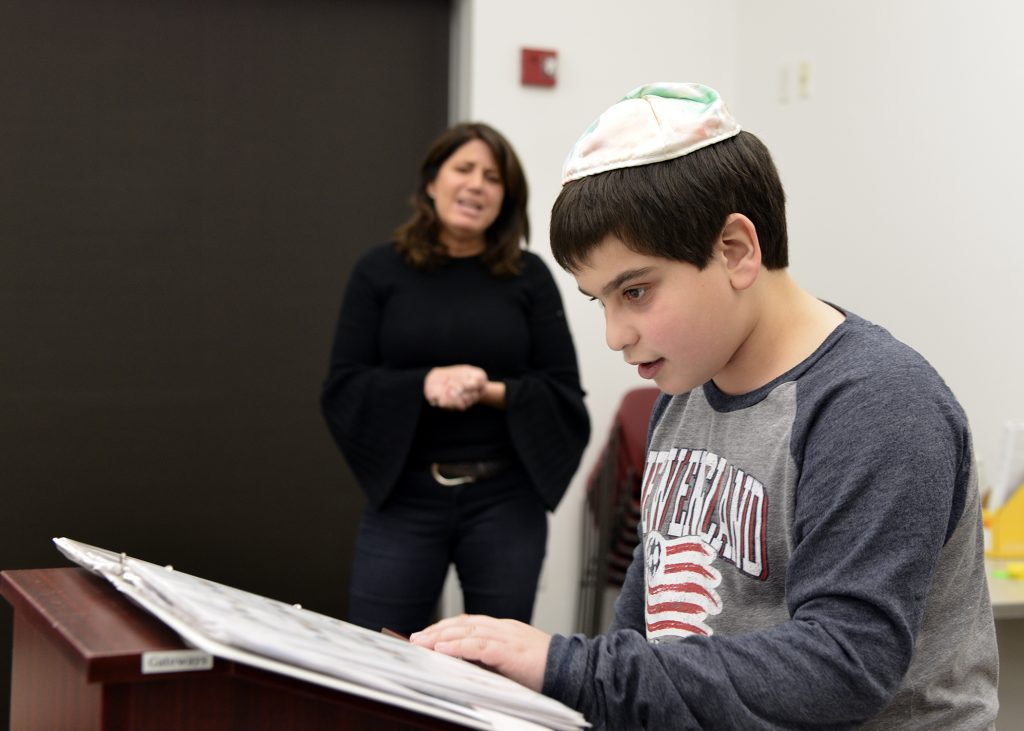 student practicing for bar mitzvah