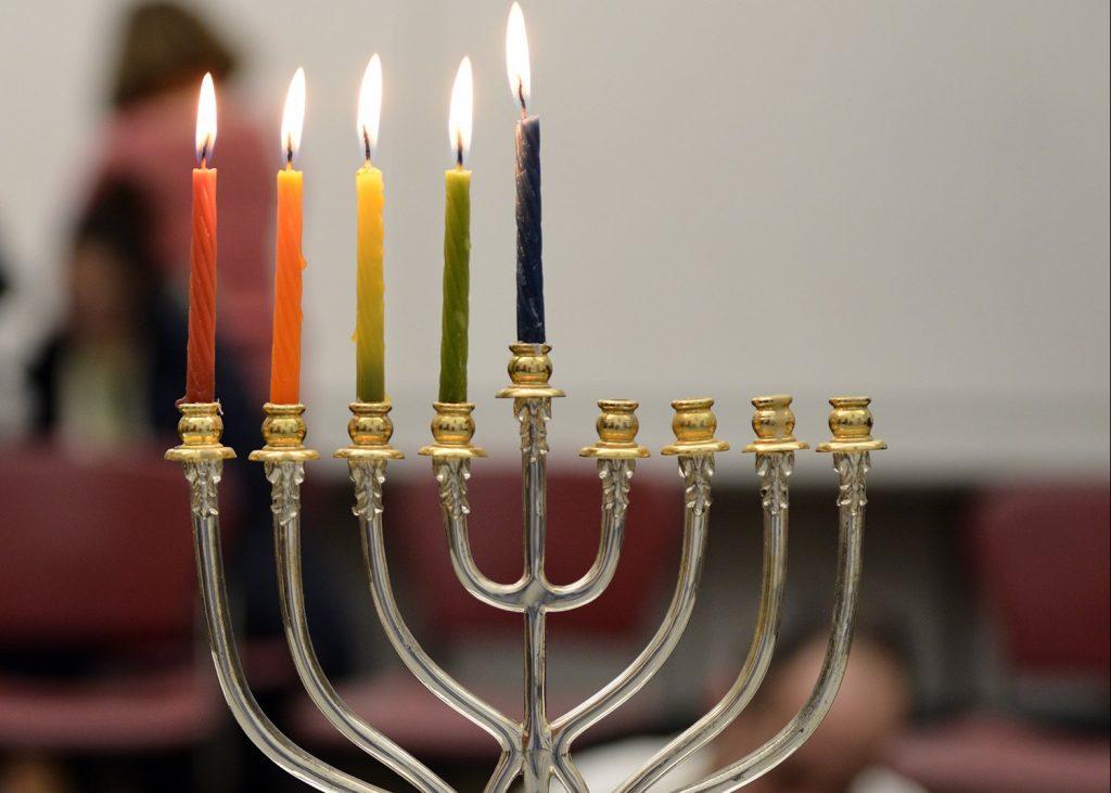 hanukkiah with 5 lit candles