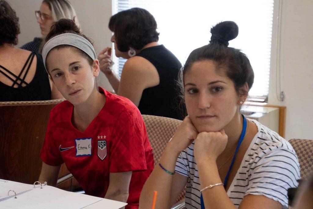 two educators at a workshop