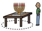 image symbol of person being safe around Hanukkah candles