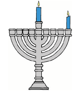 image of Chanukkiah with two lit candles