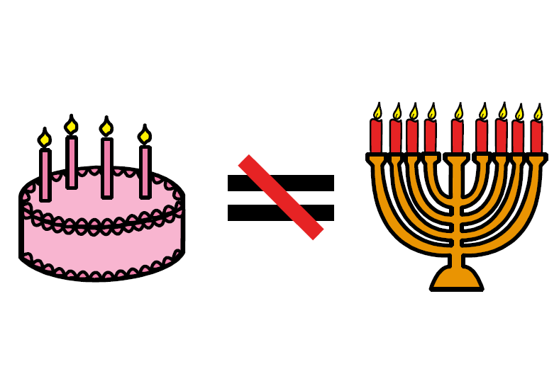 """image symbol of birthday candles and Hanukkah candles with """"not equal"""" sign"""