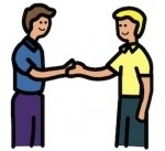 image symbol of two people greeting each other